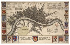 Related posts: – Old maps and views of Century London – The Great Fire of London … London maps Old Maps Of London, London Map, Old London, London City, London Bridge, Vintage London, London Travel, Great Plague Of London, Great Fire Of London