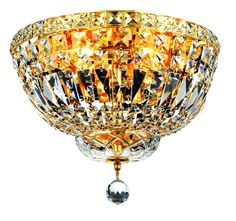 Tranquil 4 Light Crystal (Clear) Flush Mount in Gold Finish 2528F14G/SA
