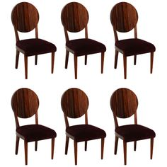 Elegant Suite of 6 Art Deco Dining Chairs. | From a unique collection of antique and modern dining room chairs at http://www.1stdibs.com/furniture/seating/dining-room-chairs/