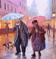 Grandparents / old couple DIY Diamond Painting Kit. Crystal Round Drill diamond painting with full pasting area. This is a timeless piece that looks good in any decor and makes the perfect addition to your Diamond Art Collection. Old Couples, Art Painting, Rain Art, Painting, Art, Cross Paintings, Umbrella Art, Pictures, Beautiful Art