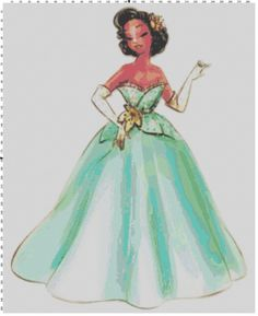 Disney Designer Princess Doll Tiana (Princess and the Frog) Cross Stitch Pattern PDF (Pattern Only). $5.00, via Etsy.