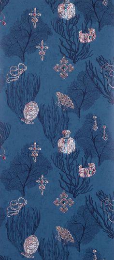 Coralino Wallpaper in Dark Blue from the Deya Collection by Matthew Williamson