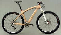 A Renovo Mountain Bike - frame made of wood, but still a legitimate ride. Wood Bike, Wooden Bicycle, 29er Mountain Bikes, Road Mountain Bike, Cycling Art, Cycling Bikes, Cycling Quotes, Cycling Jerseys, Cool Bicycles