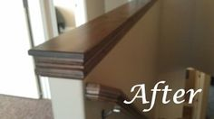 Easy DIY custom finishes- add a cap to a hand rail or half wall.  Tutorial here!