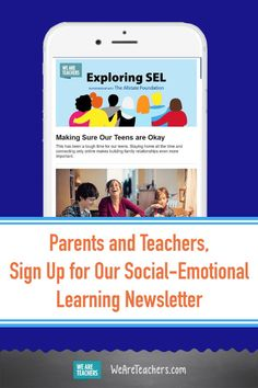 Parents and Teachers, Sign Up for Our Social-Emotional Learning Newsletter. Sign up to receive our social-emotional learning newsletter with tips, activities, inspiration and practical ideas, and more for grades 6-12. #socialemotionallearning #teachers #teaching #parents #activities #middleschool #highschool #management #learningathome Social Emotional Learning, Social Skills, Middle School, High School, We Are Teachers, Social Awareness, School Programs, Lesson Plans, Activities