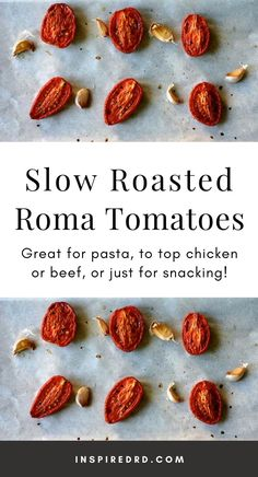 Slow Roasted Roma Tomatoes are great for pasta, to top chicken or beef, or just for snacking! Roma Tomato Recipes, Yummy Recipes, Yummy Food, Slow Roast, Smitten Kitchen, Sliced Tomato, Roma Tomatoes, Roasted Tomatoes, Gluten Free