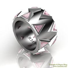 45 Degree ring, matte satin finish, Triangle cut, www.Armoura.com