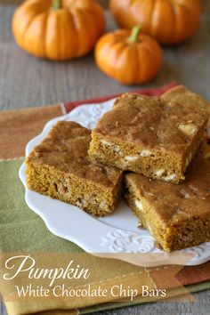 The perfect recipe to kick off fall baking!  Pumpkin White Chocolate Chip Bars - by glorioustreats.com