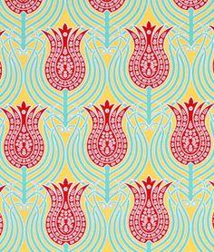 Joel Dewberry Tulips Canary Fabric - $8.9 | onlinefabricstore.net