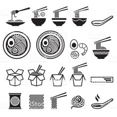 royalty-free noodle icons set stock vector art & more images of pastaYou can find icon set and more. Restaurant Logo Design, Food Logo Design, Logo Food, Web Design, Flat Design, Icon Design, Logo Design Inspiration, Icon Set, Japanese Illustration