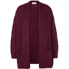 American Vintage Boolder Plum Chunky-knit Cardigan ($180) ❤ liked on Polyvore featuring tops, cardigans, open front tops, purple cardigan, open front cardigan, purple top and drop-shoulder tops
