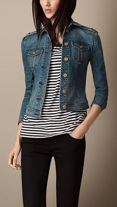 Burberry Brit Fitted Stretch-Denim Jacket- cute outfit, but that model could use a cheeseburger Burberry Brit, Look Fashion, Fashion Outfits, Womens Fashion, Looks Style, Casual Looks, Casual Outfits, Cute Outfits, Look Cool