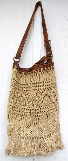 "Сумка-макраме / Сумки, клатчи, чемоданы / ВТОРАЯ УЛИЦА ""Hippie boho macrame bag Crochet bag in natural cord bohemian style"", ""macrame bag with leather h Boho Hippie, Estilo Hippie, Vintage Hippie, Boho Rucksack, Macrame Purse, Cuir Vintage, Diy Sac, Micro Macramé, Boho Bags"