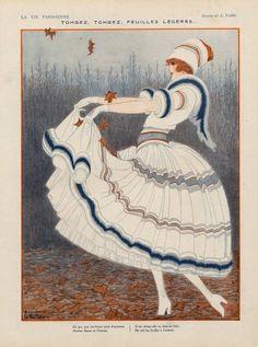 Armand Vallée 1920 ''Tombez, tombez, feuilles légères'' Elegant Parisienne Autumn  Source    La Vie Parisienne