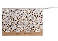 Vintage Wedding Invitation, Kraft Invitation Cards for Wedding - Pack of 50 (Blank)