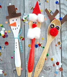Wooden Spoon Christmas Friends - Kid Craft Idea [Read more] Christmas Crafts For Kids To Make, Preschool Christmas, Christmas Activities, Holiday Crafts, Childrens Christmas Crafts, Santa Crafts, Preschool Winter, Christmas Friends, Noel Christmas