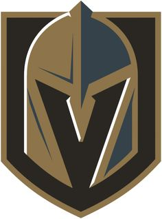 Vegas Golden Knights Primary Logo - A gold and steel grey knights helmet with a V for Vegas cut out of the front, the helmet sits on a black and gold shield Vegas Golden Knights Logo, Las Vegas Knights, Golden Knights Hockey, Grey Knights, Hockey Logos, Nhl Logos, Hockey Teams, Sports Logos, Hockey Rules