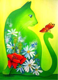 tomcat - Painting,  30x40 cm ©2010 door Tetiana Gorbachenko -  Schilderij, Olie ♥༺❤༻♥