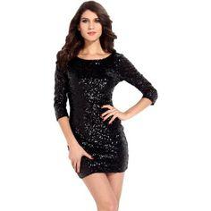 Atemberaubendes Sexy Pailletten Minikleid Glitzer Kleid 3/4 Ärmel