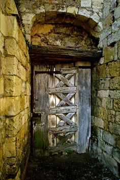 St Martin aux Bois, Door in 12th Century Abbey, northern France