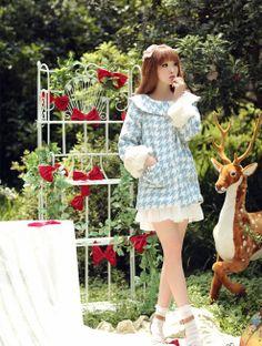 Mango Doll - Blue Houndstooth Fur Cuff Coat, $28.00 (http://www.mangodoll.com/all-items/blue-houndstooth-fur-cuff-coat/)
