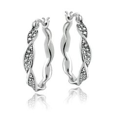 Sterling Silver Diamond Accent Twist Hoop Earrings. Starting at $1