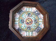 "Sailor's Valentine 9"" octagon framed piece Shell Art"