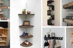 Diy pine cone crafts (ideas and designs) demonstrate the versatility of the simple pinecone. Find the best pleasure for 2019 to decorate with them! Corner Shelf Design, Diy Corner Shelf, Diy Coat Rack, Diy Spring Wreath, Fairy Jars, Bottle Crafts, Bottle Art, Easy Diy, Simple Diy