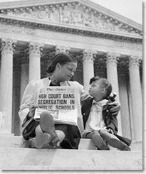Mother (Nettie Hunt) and daughter (Nickie) sit on steps of the Supreme Court building on May 18, 1954, the day following the Court's historic decision in Brown v. Board of Education. #thurgoodmarshall