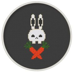 Counted cross stitch pattern, funny cross stith pattern, Instant Download, Free shipping, Cross-Stitch PDF, Skull rabbit