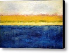 Abstract Dunes With Blue And Gold Canvas Print / Canvas Art By Michelle Calkins