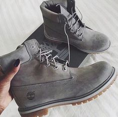 Shop Women's Timberland Gray size 7 Combat & Moto Boots at a discounted price at Poshmark. Timberland Boots Outfit, Bootie Boots, Shoe Boots, Shoes Sandals, Ankle Boots, Adidas Sl 72, Adidas Nmd, Crazy Shoes, Heels