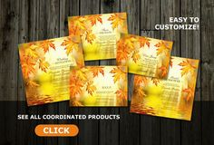 Fall Wedding Suite With Colorful Autumn Leaves l Wedding Invitation With 14 Coordinated Products #FallWedding #WeddingInvitations #Wedding #WeddingSuites