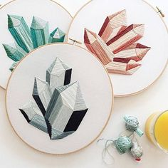 Embroidered crystals