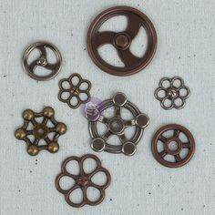 Prima - Junk Yard Findings Collection - Ingvild Bolme -Trinkets - Metal Embellishments - Faucet Wheels at Scrapbook.com $4.99