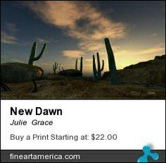 Digital desert landscape at dawn.