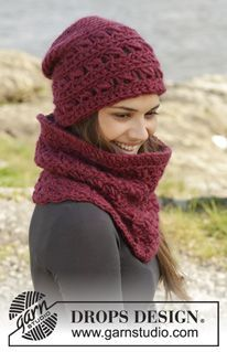 """Crochet DROPS hat and neck warmer with broomstick lace in """"Eskimo"""". ~ DROPS Design"""