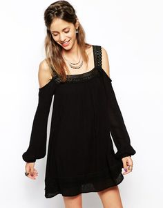Band of Gypsies Crochet Swing Dress with Cold Shoulder.