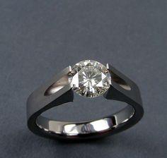 Moissanite Engagement Ring Titanium Tension-Set -- by hersteller