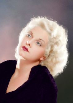 Rare color portrait of Jean Harlow. She was only in her mid twenties when she died. Check out her movies, they are all good.  Biddy Craft