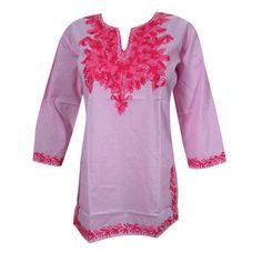 Mogulinterior Bohemian Tunic Top Pink Embroidered Cotton Indian Kurta Blouse S