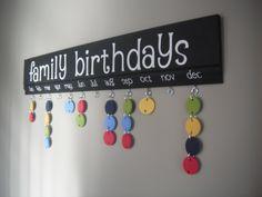Long Family Birthdays Board. $60.00, via Etsy.