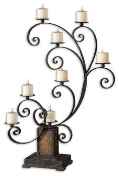Kara Aged Black Metal Candelabra traditional candles and candle holders