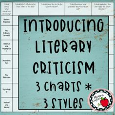 Introducing Literary Criticism: 3 Note Styles & Charts by Moore English Reader Response Criticism, Literary Criticism, Ap Literature, Teaching Literature, American Literature, Writing Strategies, Writing Resources, Teaching Secondary