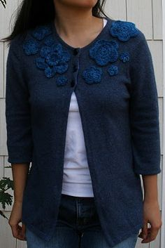 ayenforcraft: Mini-Tutorial: Converting a pullover sweater to an embellished cardigan