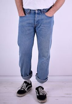 Levi's 501 Mens Vintage Jeans W32 L34 Blue 90's