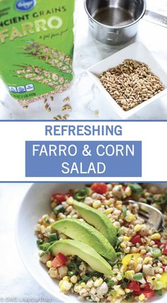 This past weekend I made a Farro & Corn Salad that was refreshing yet filling. It's so easy to make and I love fresh lime juice in the dressing. Simple Salads, Salad Recipes, Healthy Recipes, Lime Dressing, Corn Salads, Grilled Vegetables, Fresh Lime Juice, Chickpeas, Side Dishes
