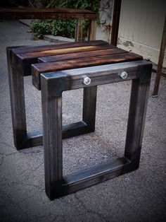 Unique stool in the industrial look by StahlmanufakturWind on Etsy