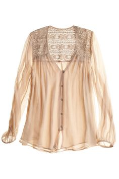 Lace sheer blouse.