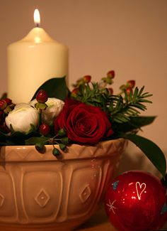 Great use for old bowls: add some real or fake greenery, some flowers.... add a candle....some Christmas decorations...makes a nice display on table or coffee table....